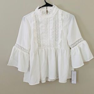 White baby doll blouse